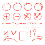 Vector red highlight elements. Circles, arrows Stock Photos