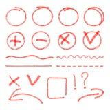 Vector red highlight elements. Circles, arrows Stock Photos