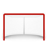 Vector red hockey goal, net.  on white. Royalty Free Stock Photo