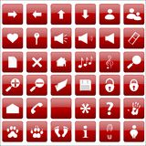 Vector red icon set Stock Image