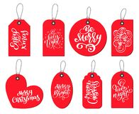 Vector red labels tags collection with Calligraphy lettering quotes Enjoy xmas, Be Merry, O holly night, Merry bright. Merry Christmas, Ho-ho-ho Stock Image