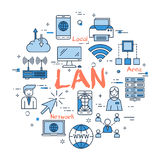 Blue round LAN concept. Vector red LAN word with blue linear icons on white background. Round web banner. Concept of local area network, internet connection and Stock Photos