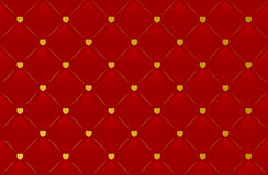 Vector red leather background with hearts Royalty Free Stock Image