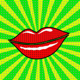 Vector red lips on a green background Royalty Free Stock Images
