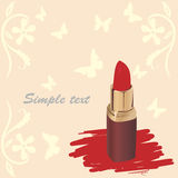 Vector red lipstick. On a background of butterflies Stock Photo
