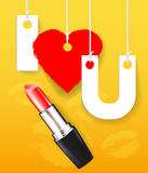 Vector red lipstick with paper letters Stock Images