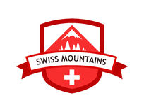 Vector Red Logo of Swiss Mountains Royalty Free Stock Photography