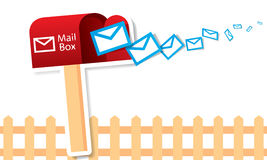 Vector red mailbox with mails Stock Photos