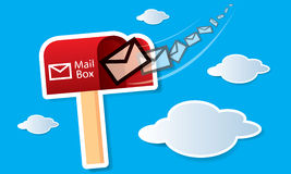 Vector red mailbox with mails Stock Images