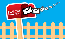 Vector red mailbox with mails Royalty Free Stock Photo