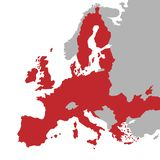 Vector red Map of the European Union with extra UE countries in grey stock illustration