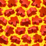 Vector red meeples seamless pattern Royalty Free Stock Images