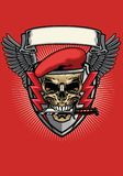 Red military beret skull with knife design. Vector of red military beret skull with knife design Royalty Free Stock Images