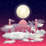 Vector red Mosque silhouette in night sky with full moon and stars clouds Stock Photos