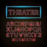 Vector red neon lamp letters font show cinema or theather Royalty Free Stock Photos