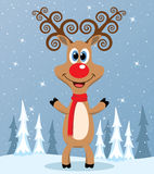 Vector red nosed reindeer Royalty Free Stock Photos