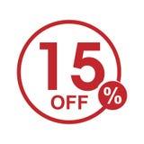 Vector minimalist flat discount round stamp 15% off. Vector red 15% off discount round stamp isolated on white background Vector Illustration