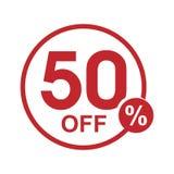 Vector minimalist flat discount round stamp 50% off. Vector red 50% off discount round stamp isolated on white background Vector Illustration
