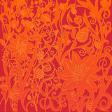 Vector red orange floral pattern in Victorian style. Element for design. Ornamental backdrop. Orange bright floral ornament on dark red background. Ornate Royalty Free Stock Image