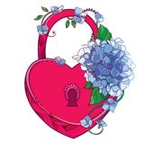 Vector red padlock heart with bouquet of outline Hydrangea or Hortensia flower bunch and ornate leaf in pastel blue isolated. Vector red padlock heart with royalty free illustration