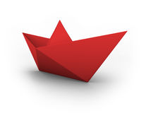 VECTOR red paper boat. Vector illustration of a red origami boat Royalty Free Stock Photo