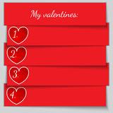 Vector red paper enumerated valentine list Stock Image