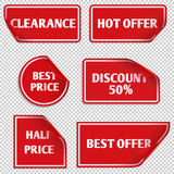 Vector red paper sale stickers with curled edge Royalty Free Stock Photos