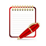 Vector Red pen and notepad icon Stock Photos
