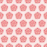 Vector red and pink symmetrical folk floral repeat pattern design background.Seamless repeat pattern background. Vector red and pink symmetrical folk floral royalty free illustration