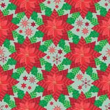 Vector Red Poinsettia with snowflakes and stars seamless pattern background. stock illustration