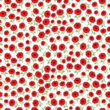Vector  red poppy flowers seamless pattern background with hand drawn flowers. Royalty Free Stock Image