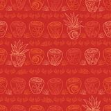 Vector red potted plants tropical beach resort repeat pattern. Suitable for gift wrap, textile and wallpaper stock illustration