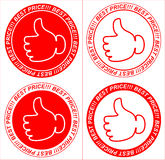 Vector red price tags, labels, thumb Stock Photo