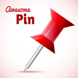 Vector red push pin Royalty Free Stock Images