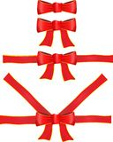 Vector red ribbon with bow. In different versions Royalty Free Stock Photography