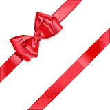Vector Red Ribbon with Bow. On white background Royalty Free Stock Photo