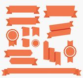 Vector Red ribbons set Elements isolated stock illustration