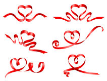 Vector Red Ribbons Set. A set of six heart shaped Red ribbons Royalty Free Stock Images
