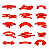 Vector red ribons set, isolaten on background Royalty Free Stock Photos