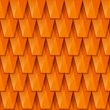 Vector red roof tile, texture. Abstract geometric 3d background. Orange background from polygonal tiles Stock Photos