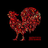 Vector red rooster for the Chinese New year 2017 Stock Photography