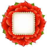Vector Red Rose circle frame Royalty Free Stock Photos