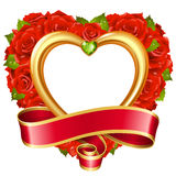 Vector red rose frame in the shape of heart Royalty Free Stock Photos
