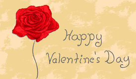 Vector red rose on grunge background Valentine wis. Valentines Day -  red rose on grunge background Stock Photography