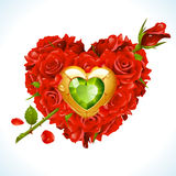 Vector red Roses and green crystal in the shape of heart with flower arrow Stock Photos