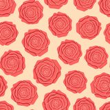 Vector red roses seamless pattern on the beige background. Stock Images