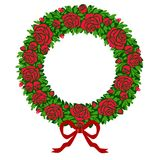 Vector red roses wreath Royalty Free Stock Photo