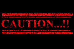 Red Rubber Stamp, Caution, at Black Background Stock Photography