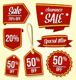Vector red sale discount badge template in eye catching gold stripe. Including ribbon and price tag Stock Images