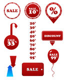 Vector red sale set. Stamp discount tags labels Stock Photos